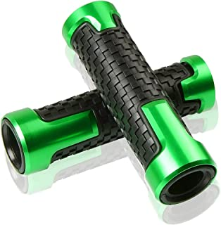 7/8''(22mm) left and 1''(24mm) right Motorcycle CNC Aluminum Soft Rubber Powersports Grips(Green)
