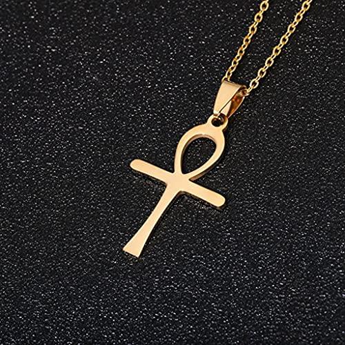 MIKUAF collarCollar de Acero Inoxidable con Cruz Simple para Mujeres, Hombres, Collar de Cadena Corta de Color Dorado y Plateado, joyería Religiosa Cruzada, Regalo de Amante