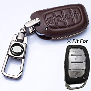 Romeo's Memory Leather 4 Buttons Smart Key Fob Cover Case Bag Jacket Protector Fit for 2016 2017 2018 Hyundai Tucson Elantra Sonata (NOT FIT Flip/Pop Out/Folding Key