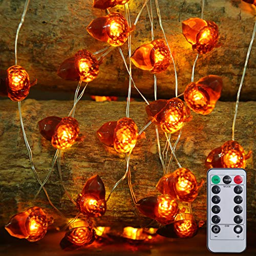 SAMYERLEN 3D Acorn String Lights with 40 LED, Battery Operated String Lights with 8 Modes for Fall Decorations, Remote&Timer Outdoor & Indoor for Thanksgiving Decoration