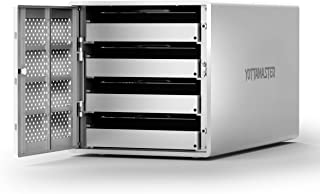 Yottamaster Aluminum Alloy 4 Bay 2.5/3.5 Inch USB3.0 External Hard Drive Enclosure SATA3.0 - Silver