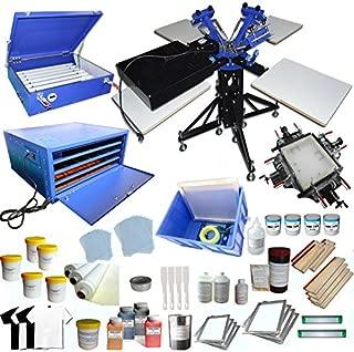 3 Color 4 Station Screen Printing Press KIt T-Shirt Printing Kit Silk Screen Printing Machine Press DIY T-Shirt Printer
