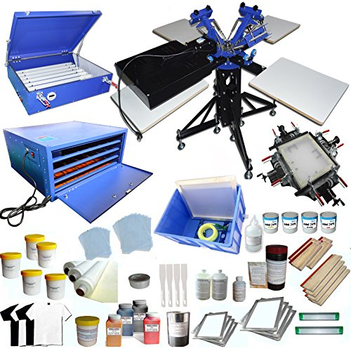 3 Color 4 Station Screen Printing Press KIt T-Shirt Printing Kit Silk Screen Printing Machine Press DIY T-Shirt Printer