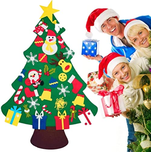 T Tersely DIY Felt Christmas Tree Set with 30 PCS Ornaments for Kids, Xmas Gifts, New Year Door Wall Hanging Christma...