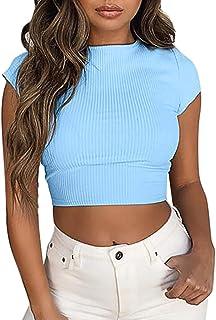 GRIPY T Shirt Women Fashion Casual Solid Short Sleeve Short O-Neck Tee T-shirt Tops Blouse