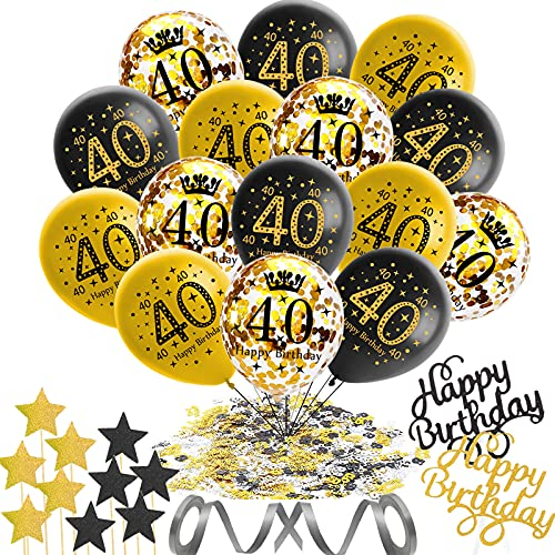 55 Stück 40 Geburtstag Deko,40 Geburtstag Deko Schwarz Gold,Schwarz Luftballons Gold Konfetti Luftballons mit Happy Birthday Cake Topper,40 Deburtstag Party Dekoration Mann Frau