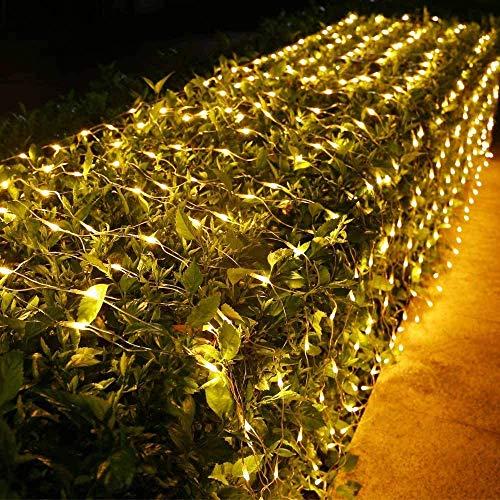 LED Lichternetz Außen BrizLabs 240 LEDs Lichterkette Netz Lichtervorhang Warmweiß 8 Modi Weihnachten Beleuchtung mit Fernbedienung Timer...