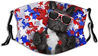 BYJHMB French-bulldog-waving-flag-usa-victory-661482256 Cotton Washable Nose Wired Face Cover Filter Pocket Wide Cover with Filter
