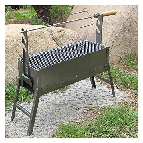 ZWH-Brasero Exterior Bonfire Pierna de Cordero Tabla Barbacoa Hoguera Tabla BBQ Girar manualmente Acero Inoxidable, (Size : 60 * 20 * 33.5CM)