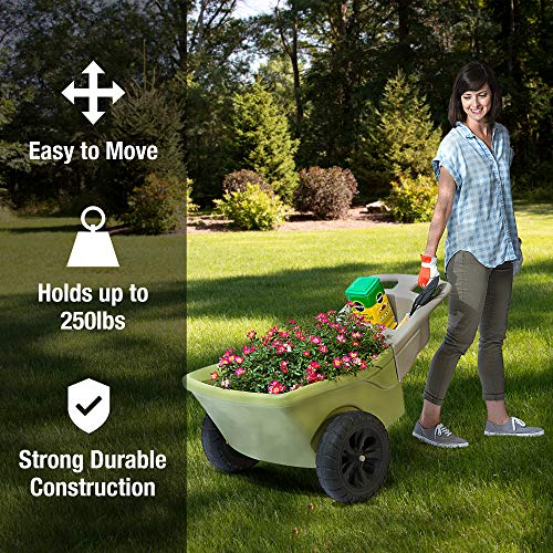 Simplay3 Easy Haul Plastic Wheelbarrow w/Garden Tool Storage Tray, 4 Cubic ft. Capacity, 2 Wheels - Green
