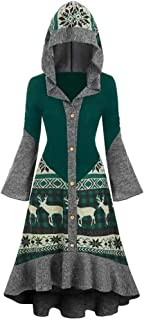 Womens Hooded Cloak E-Scenery Plus Size Christmas Elk High Low Flounce Hem Knitted Dress