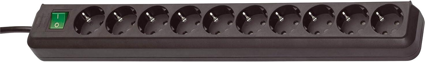 Brennenstuhl Eco-Line 10-voudige stekkerdoos (stekkerdoos met kinderbeveiliging, schakelaar en 3 m kabel), zwart