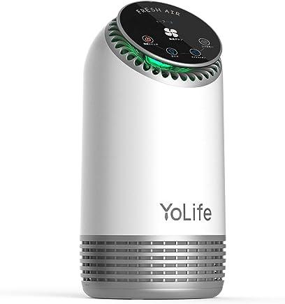 空気清浄機 Yolife 3段階防塵 複合型フィルター 空気清浄器 花粉対策 脱臭 マイナスイオン発生 タバコ対策 (活性炭+プレフィルター+HEPAフィルター)空気清浄機 夜間ライト付き 日本語取扱説明書付き