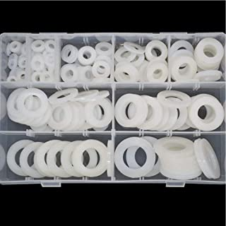 Nylon Large Flat Round Washer Countersunk Clear Plastic Spacer Thickness Gasket Ring Standard Hardware Tool Fastener for Screw Assortment Kit 240pcs M5 M6 M8 M10 M12 M14 M16 M18 M20 White