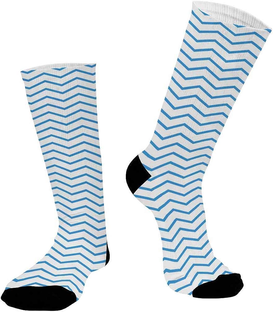 INTERESTPRINT Sublimated Crew Socks, Athletic Dress Socks Monochrome Geometric