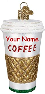 Personalized Coffee Cup Hot Drink Hanging Christmas Ornament Glittered Design with Custom Name