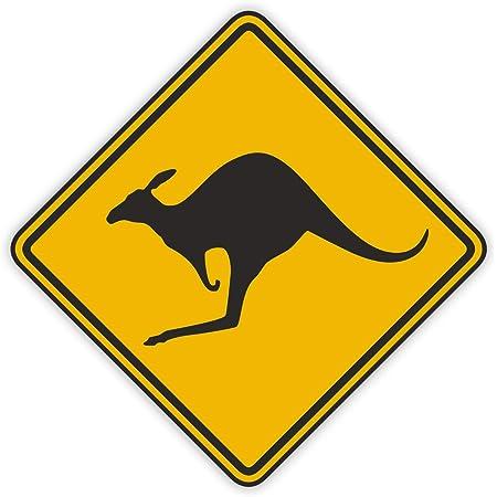 Aufkleber Vorsicht Känguru Kfz 580 15x15cm Außenklebend Kangaroo Sticker Auto Aufkleber Australien Waschanlagen Geeignet Uv Und Witterungsbeständig Vergilbungsfrei Gelb Auto