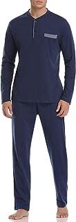 Men's Pajamas Set Cotton Long Sleeve Top and Pants Soft Sleepwear Lounge Set