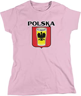 Amdesco Women's Polska Na Zdrowie, Poland Cheers, Beer Pint T-Shirt