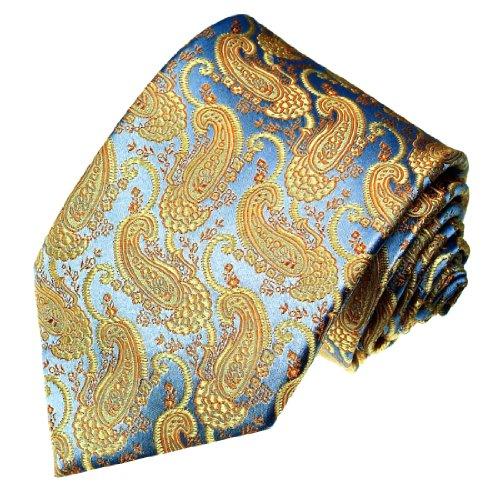 LORENZO CANA - Luxus Designer Krawatte aus 100{b4d20a66c3bbf4f1dfbf54447cb0e016412ef7b34e0e1c4be5eaf17cab79fc24} Seide - Blau Gold Paisley - hochwertige handgefertigte Seidenkrawatte - 84206