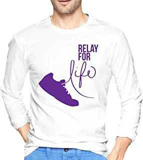 KLQ Relay for Life Men Round Neck Long Sleeve Tees Cotton T-Shirt