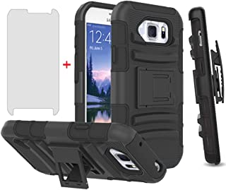 Phone Case for Samsung Galaxy S6 Active with Tempered Glass Screen Protector Cover and Holster Belt Clip Slim Rugged Hard ...