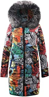 Womens Winter Long Down Parka Hooded Coat, Ladies Fashion Printed Zipper Quilted Jacket Outwear