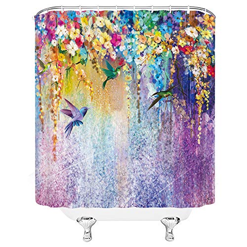 Xnichohe Hummingbird Shower Curtain Abstract Watercolor Flower Purple Vertical Vine Spring Home Decor Polyester Fabric Curtains for Bathroom with Hooks 70 x 70 Inch Purple Green