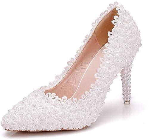 RHYFDGFH Chaussures de Mariage Chaussures de Demoiselle d'honneur pour Femmes, à Talons Hauts, mariée Sandales Talons Hauts (Taille   39)