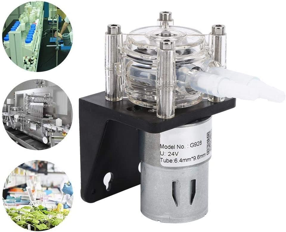 24V Bomba Dosificadora Resistente a La Corrosi/ón de Flujo Grande Con Cabezal de PC transparente 500 ml//min Bomba de L/íquido Perist/áltica