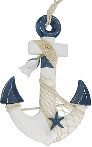 Sunnygalde 15 5 H Wooden Anchor With Rope And Crossbar Wood Nautical Decor Anchor Wall Hanging Ornament Plaque Dark Blue