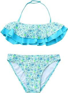 57c03407794e4 AutumnFal 7-14Y Little Girls Two-Piece Ruffles Floral Swimsuit Kids Baby  Girl Bikini