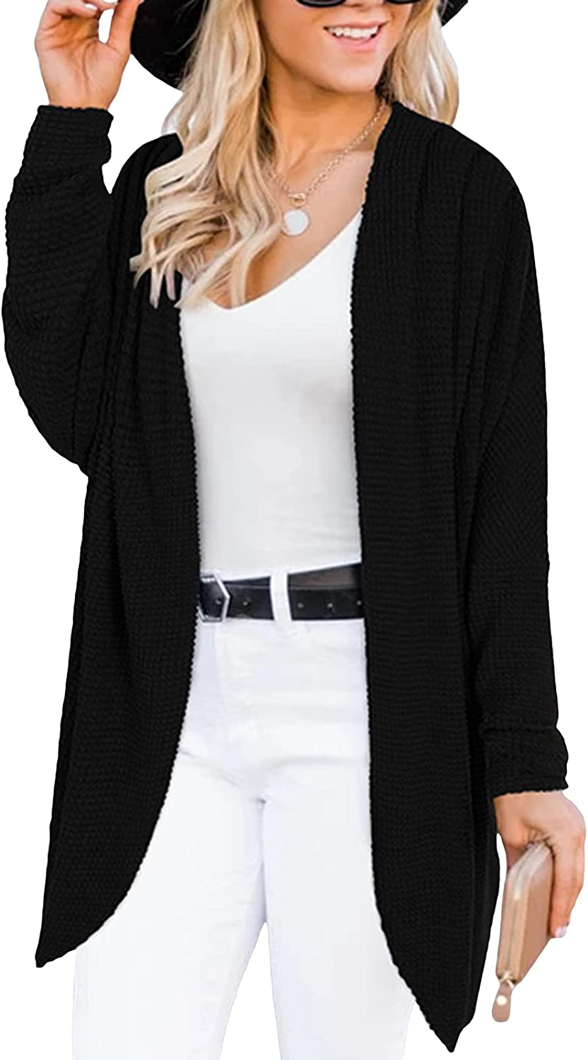 Womens Long Sleeve Shrug Knitted Open Front Cardigan Mid-Length Solid Color Sweater Jacket Casual Coat