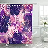 Cortinas de baño/Cortinas de baño, Shower Curtain Home Postcard Decor Imprints Spring Primroses Watercolor and Stains Boho Fabrics Souvenirs Packaging Shower Hook Set Are Included