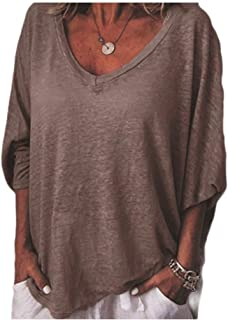 EnergyWDWomen V-Neck Bat Sleeve Solid Casual Pullover Tee T-Shirt