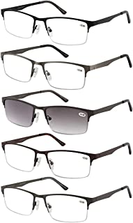 Eyecedar 5-Pack Metal Half-frame Reading Glasses Men Rectangle Style Stainless Steel Material Spring Hinges Include Sun Readers +2.00
