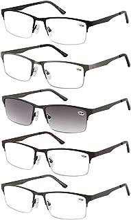 Eyecedar 5-Pack Metal Half-Frame Reading Glasses Men Spring Hinges Stainless Steel Material Include Sun Readers +1.50