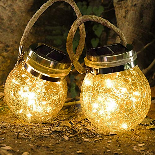 Solar Cracked Glass Jars Light - 30 LEDs Solar Lanterns Lights, Hanging Solar Lights for Courtyard Garden Yard Patio Lawn Party Wedding Christmas Decoration,2 Pack