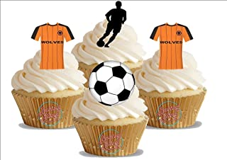 12 x Wolverhampton Wanderers FC Football Mix - Choose from STANDARD or VANILLA-SWEETENED Toppers - Fun Novelty Birthday Party PREMIUM STAND UP Edible Wafer Card Cake Toppers Decorations (Unflavoured)