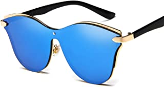Sunglasses Fashion Accessories Women's Oversized Polarized Metal Frame Mirrored Cat Eye Sunglasses (Color : White)