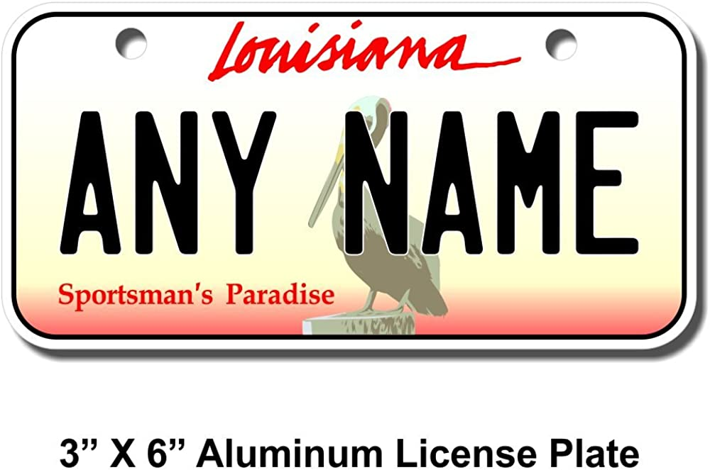 TEAMLOGO Personalized Award Louisiana Choice License Plate - Sizes for Kid's