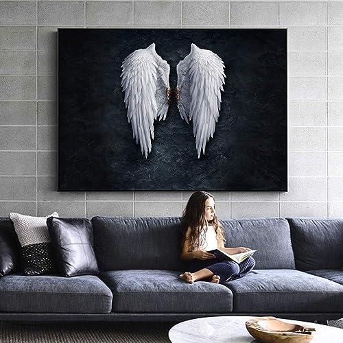hasta un 65% de descuento ZUHN Anime Angel Wings Parojo Arte Lienzo Imprime Angel Pluma Pluma Pluma de Las alas de Tierra Pinturas Creativas en la Imagen de la Parojo  Esperando por ti