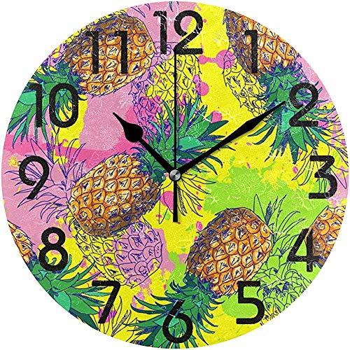 Cy-ril Couleurs élégantes éclaboussé Motif d'ananas Horloge Murale Ronde décoratif Batterie fonctionnant au Calme Horloge de Bureau pour la Maison, Bureau, école