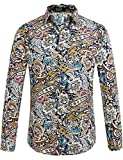 SSLR Men's Paisley Cotton Long Sleeve Casual Button Down Shirt (XX-Large, Blue...