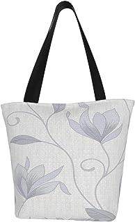 Lesif Anais Einkaufstaschen, graue Blumenwege, Segeltuch, Einkaufstasche, wiederverwendbar, faltbar, Reisetasche, groß und langlebig, robuste Einkaufstaschen