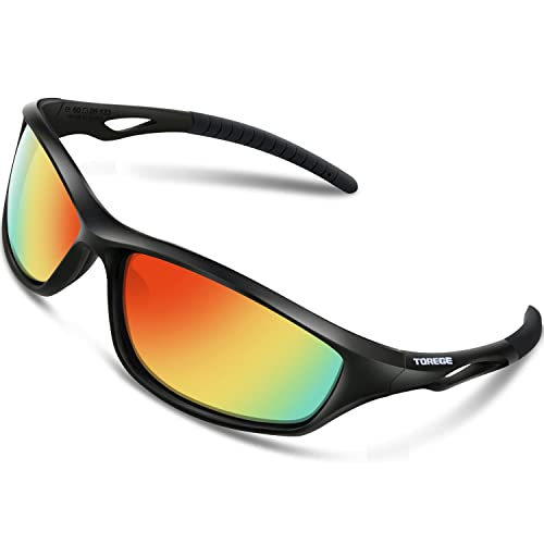 f5bb09ac448b TOREGE Polarized Sports Sunglasses for Men Women for Cycling Running  Fishing Golf TR90 Unbreakable Frame TR010