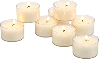 Stonebriar Unscented Long Burning Clear Cup Tea Light Candles, 6 to 7 Hour Extended Burn Time, White, Bulk 96 Pack, Clear,...