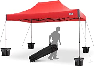 FinFree 10x15 FT Pop Up Canopy Tent Commercial Instant Canopy with Roller Bag,6 Walls and Weight Bags, Red