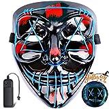 Coolflash Light Up Masks Purge Stitched LED Lighted Halloween Party Festival EDM Rave Costume Mask Blue