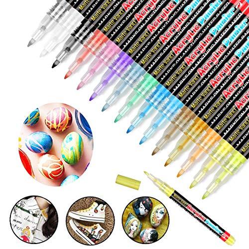 OVAREO Acrylstifte Marker Stifte, 15 Farben Metallic Marker Stifte Set, Premium Wasserfest Paint Marker Acryl Stifte für Steine Scrapbooking Glas Papier Gästebuch Fotoalbum